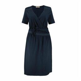 Cotton Wrapover Midi Dress with Tie-Waist