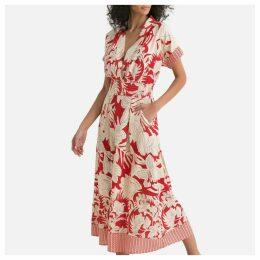 Floral Print Kimono Midi Dress