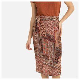 Scarf Print Mid-Length Pencil Skirt