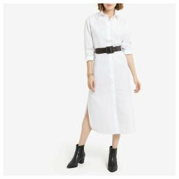 Cotton Shirt Dress with Long Sleeves