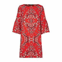 Short Boat Neck Dress with Ruffled Sleeves