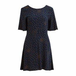 Short-Sleeved V-Back Polka Dot Print Dress
