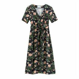 Floral Print Buttoned Tie-Waist Midi Dress