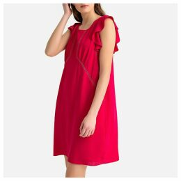 Short Ruffled Sleeved Dress with Ladderstitch Detail