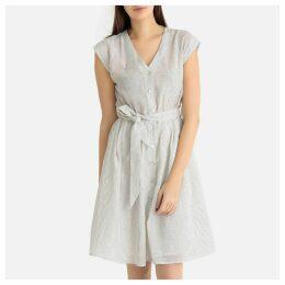 Banila Embroidered Belted Short-Sleeved Dress