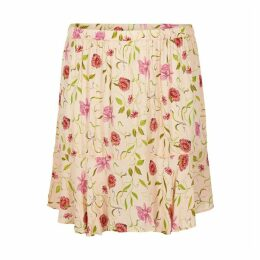 Floral Print Short Flared Skirt