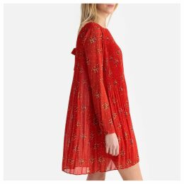 Printed Short Pleated Dress with Long Sleeves