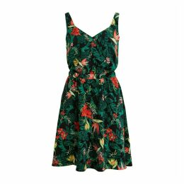 Vilaia Floral Print Flared Dress with Sweetheart Neck