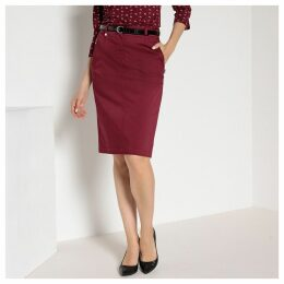 Stretch Cotton Satin Pencil Skirt