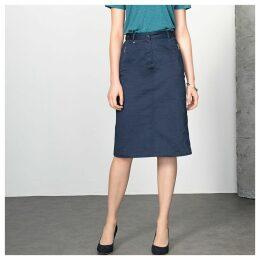 Stretch Cotton Satin Pencil Skirt