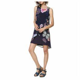 Draping Floral Print Midi Dress
