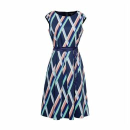 Graphic Print Stretch Cotton Pleated Dress with Belt