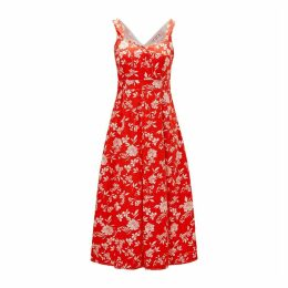 Flared Sleeveless Midi Dress in Floral Print Cotton