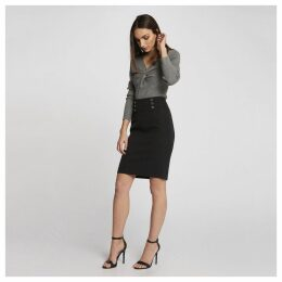 Buttoned Waist Pencil Skirt with Back Zip