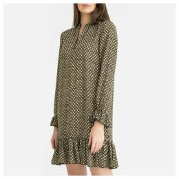 Printed Long-Sleeved Dress with Dainty Ruffle Trim