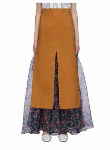 Floral print underlay split hem skirt