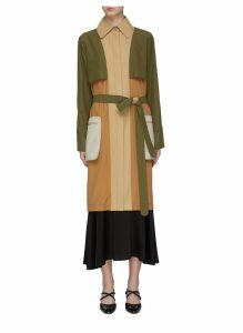 Belted colourblock patch pocket trench coat
