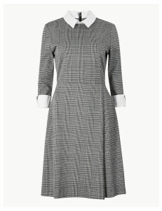 M&S Collection Checked Midi Fit and Flare Dress