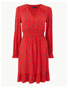 M&S Collection Floral Waisted Knee Length Dress