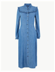 M&S Collection Denim Ruffle Midi Shirt Dress