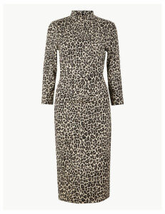 M&S Collection Jersey Animal Print Midi Bodycon Dress