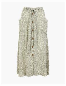 Per Una Ditsy Floral Tie Waist A-Line Midi Skirt
