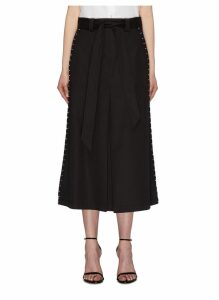 Belted hook outseam layered gabardine midi skirt