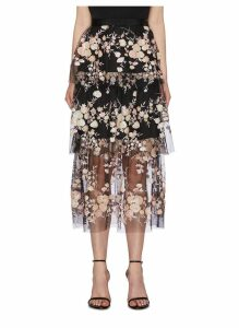 Sequin floral mesh tiered skirt