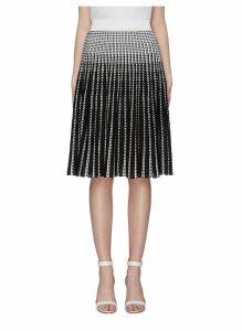 Lace insert stripe Ottoman knit skirt