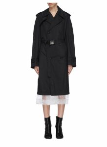 Quick-release buckle belted trench coat