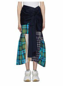 Knot front asymmetric mix check patchwork peplum skirt
