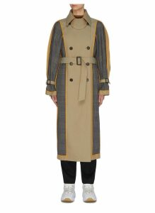 Reversible belted houndstooth check plaid panel trench coat