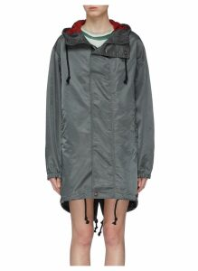 Face patch water resistant hooded parka