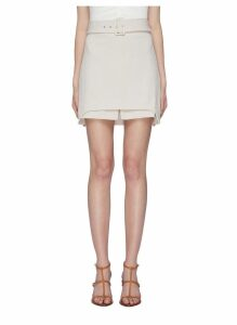'Mode' belted staggered layered hem skirt