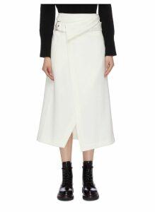 Belted foldover waist asymmetric gabardine wrap midi skirt