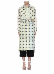 'Birdie' pleated back check grid trench coat