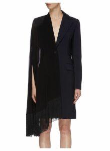 Fringe georgette scarf panel wool coat