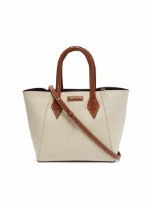 'Perriand' leather handle linen medium tote