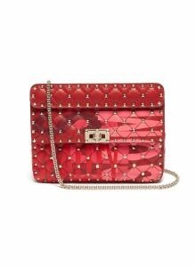 'Rockstud Spike' slogan print medium quilted leather crossbody bag