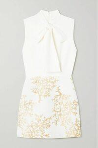 Versace - Asymmetric Printed Satin Skirt - Gold