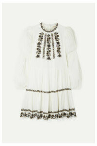 Ulla Johnson - Ceres Sequined Embroidered Crinkled Cotton-voile Mini Dress - White