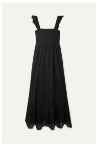 APIECE APART - Quince Broderie Anglaise-trimmed Cotton-voile Midi Dress - Black