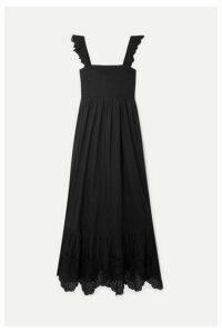 APIECE APART - Quince Broderie Anglaise-trimmed Cotton-voile Midi Dress - Black
