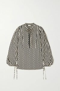 Dolce & Gabbana - Belted Floral-print Cotton-blend Twill And Guipure Lace Shirt - Red