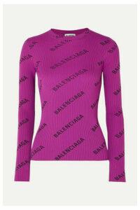 Balenciaga - Printed Ribbed-knit Top - Purple