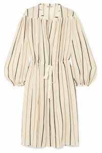 Three Graces London - Julienne Striped Cotton-blend Midi Dress - Beige