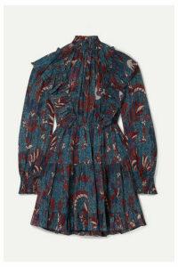 Ulla Johnson - Vienne Ruffled Printed Cotton-blend Crepon Mini Dress - Navy