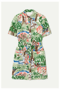Victoria, Victoria Beckham - Pocket Printed Cotton-blend Mini Dress - Green