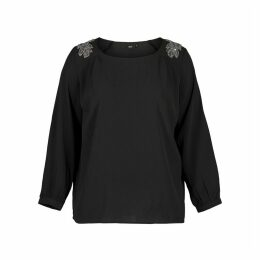Round Neck Blouse with Shoulder Details and 3/4 Length Sleeves