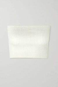 Vince - Flounce Ribbed Stretch-knit Top - Navy